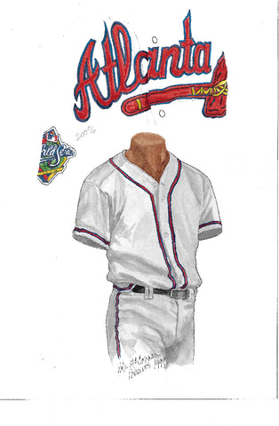 This is an original watercolor painting of the 1999 Atlanta Braves uniform.