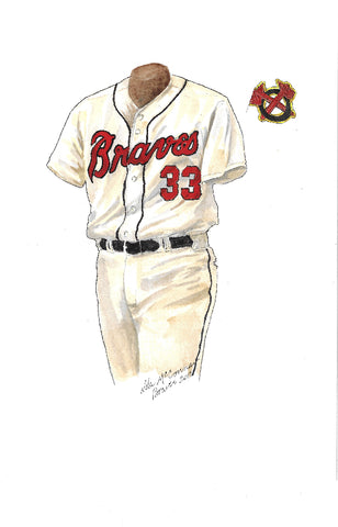 This is an original watercolor painting of the 2012 Atlanta Braves uniform.