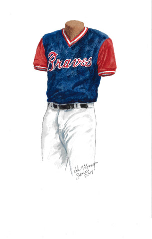 This is an original watercolor painting of the 2017 Atlanta Braves uniform.