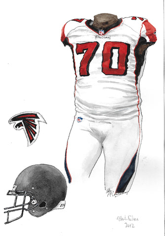 This is an original watercolor painting of the 2012 Atlanta Falcons uniform.