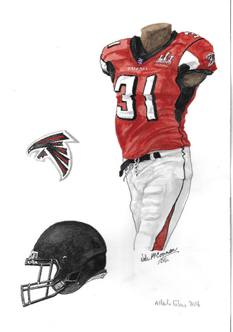 This is an original watercolor painting of the 2016 Atlanta Falcons uniform.
