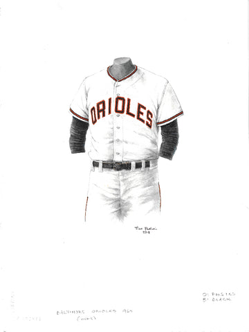 This is an original watercolor painting of the 1964 Baltimore Orioles uniform.