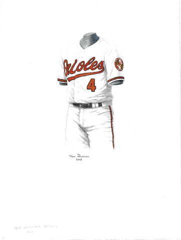 This is an original watercolor painting of the 2018 Baltimore Orioles uniform.