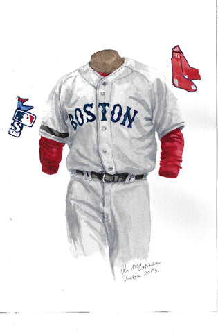 This is an original watercolor painting of the 2013 Boston Red Sox uniform.