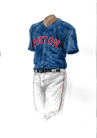 This is an original watercolor painting of the 2018 Boston Red Sox uniform.