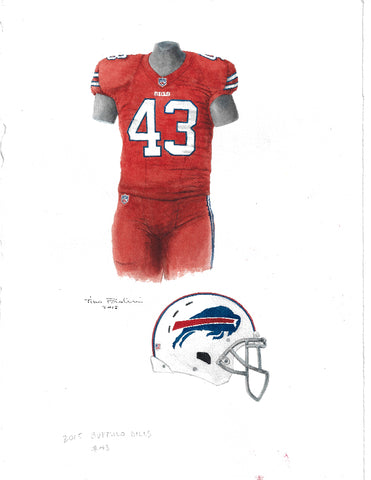 This is an original watercolor painting of the 2015 Buffalo Bills uniform.