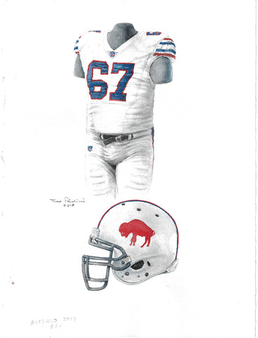 This is an original watercolor painting of the 2017 Buffalo Bills uniform.