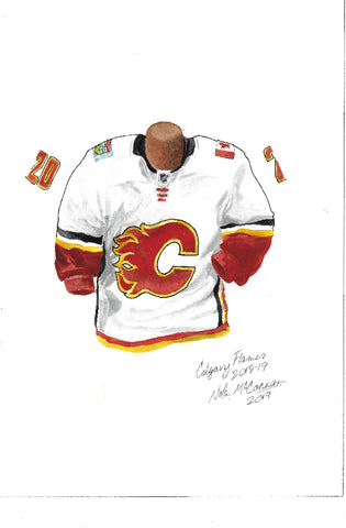 Calgary Flames 2018-19 - Heritage Sports Art - original watercolor artwork