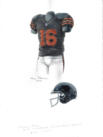 This is an original watercolor painting of the 2012 Chicago Bears uniform.