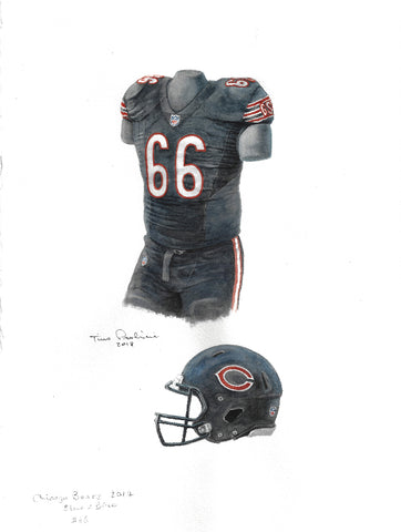 This is an original watercolor painting of the 2017 Chicago Bears uniform.