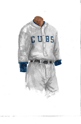 This is an original watercolor painting of the 1924 Chicago Cubs uniform.