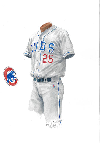 This is an original watercolor painting of the 2014 Chicago Cubs uniform.