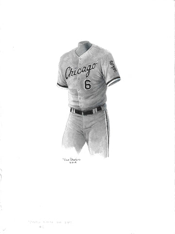 This is an original watercolor painting of the 2012 Chicago White Sox uniform.