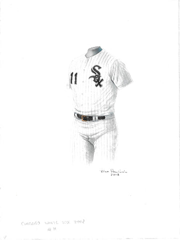 This is an original watercolor painting of the 2018 Chicago White Sox uniform.