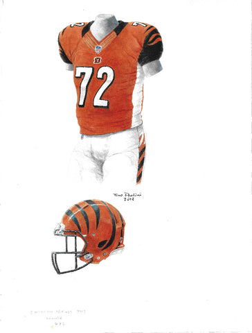 This is an original watercolor painting of the 2013 Cincinnati Bengals uniform.