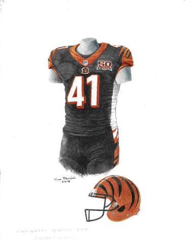 This is an original watercolor painting of the 2017 Cincinnati Bengals uniform.