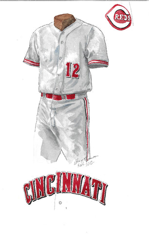 This is an original watercolor painting of the 2012 Cincinnati Reds uniform.