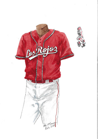 This is an original watercolor painting of the 2018 Cincinnati Reds uniform.