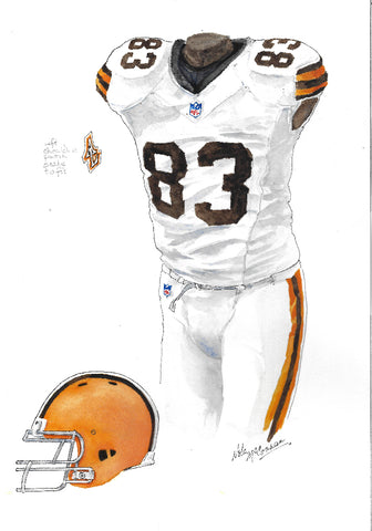 This is an original watercolor painting of the 2012 Cleveland Browns uniform.