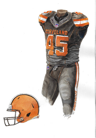 This is an original watercolor painting of the 2018 Cleveland Browns uniform.