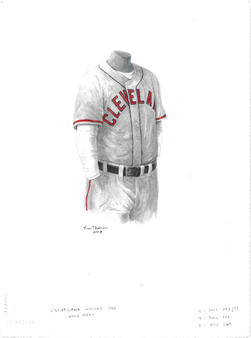 This is an original watercolor painting of the 1948 Cleveland Indians uniform.