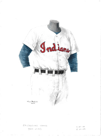 This is an original watercolor painting of the 1954 Cleveland Indians uniform.