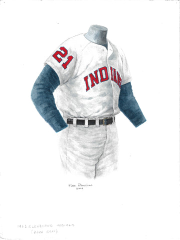 This is an original watercolor painting of the 1962 Cleveland Indians uniform.