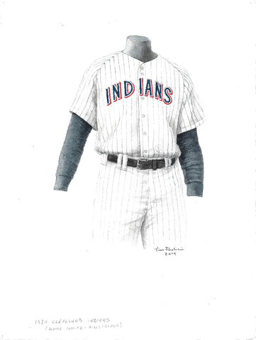 This is an original watercolor painting of the 1970 Cleveland Indians uniform.