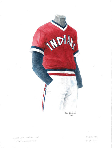 This is an original watercolor painting of the 1975 Cleveland Indians uniform.