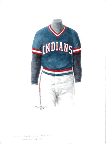 This is an original watercolor painting of the 1981 Cleveland Indians uniform.