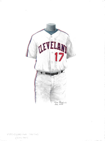 This is an original watercolor painting of the 1989 Cleveland Indians uniform.