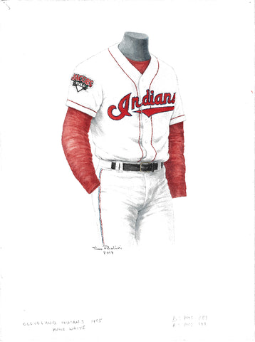 This is an original watercolor painting of the 1995 Cleveland Indians uniform.
