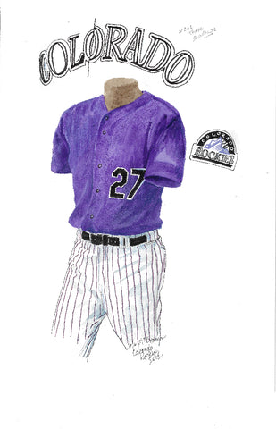 This is an original watercolor painting of the 2012 Colorado Rockies uniform.