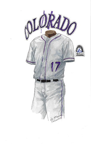 This is an original watercolor painting of the 2017 Colorado Rockies uniform.