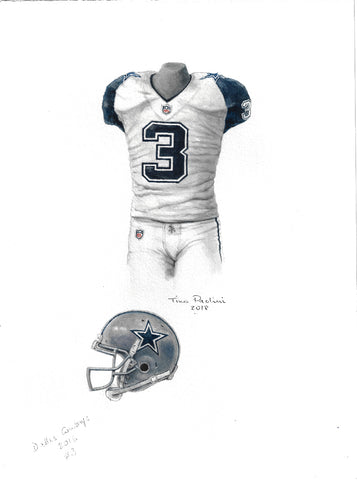 This is an original watercolor painting of the 2016 Dallas Cowboys uniform.