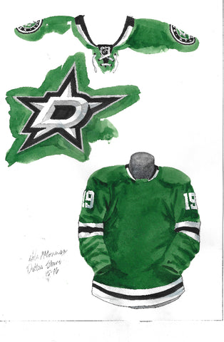 Dallas Stars 2015-16 - Heritage Sports Art - original watercolor artwork
