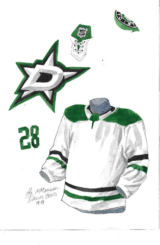 Dallas Stars 2018-19 - Heritage Sports Art - original watercolor artwork