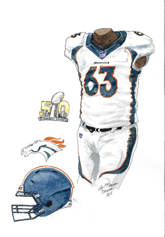 This is an original watercolor painting of the 2015 Denver Broncos uniform.