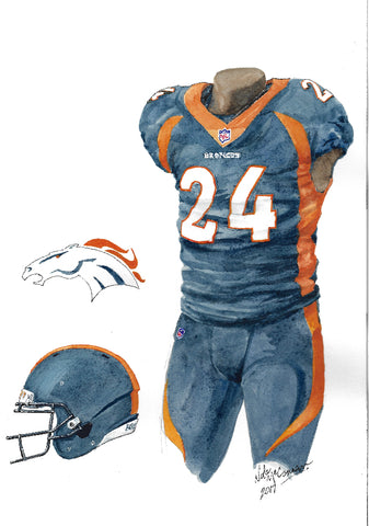 This is an original watercolor painting of the 2017 Denver Broncos uniform.