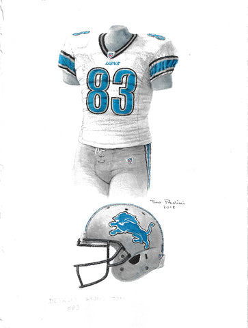 This is an original watercolor painting of the 2011 Detroit Lions uniform.