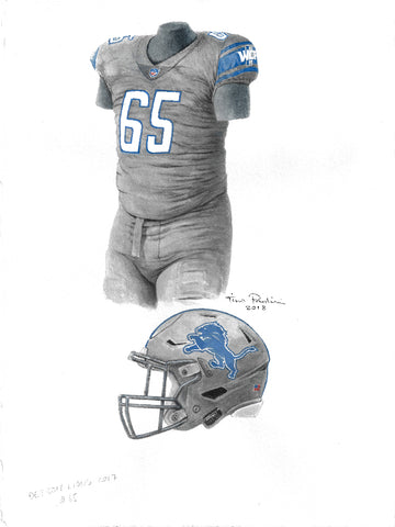 This is an original watercolor painting of the 2017 Detroit Lions uniform.