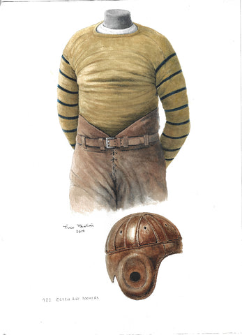 This is an original watercolor painting of the 1922 Green Bay Packers uniform.