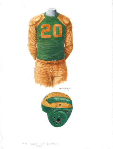 This is an original watercolor painting of the 1936 Green Bay Packers uniform.