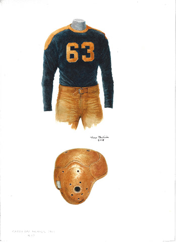This is an original watercolor painting of the 1941 Green Bay Packers uniform.