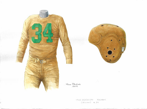 This is an original watercolor painting of the 1947 Green Bay Packers uniform.