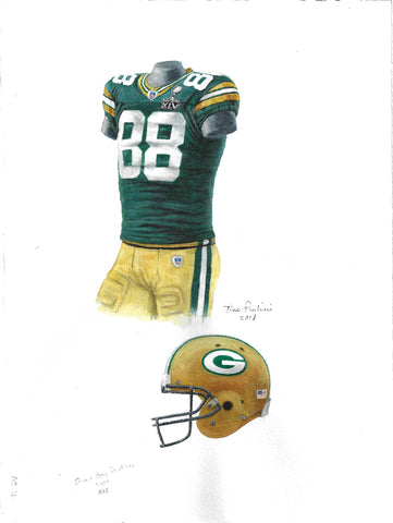 This is an original watercolor painting of the 2010 Green Bay Packers uniform.