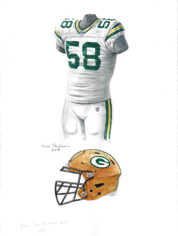 This is an original watercolor painting of the 2017 Green Bay Packers uniform.