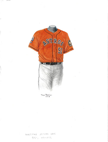 This is an original watercolor painting of the 2015 Houston Astros uniform.