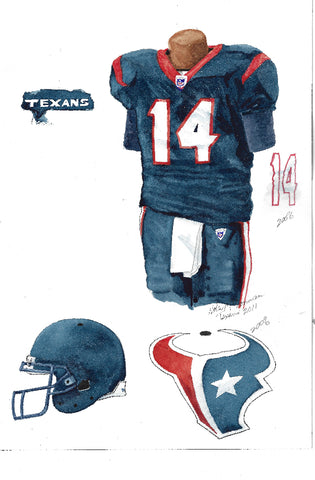 This is an original watercolor painting of the 2011 Houston Texans uniform.