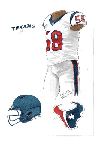 This is an original watercolor painting of the 2016 Houston Texans uniform.